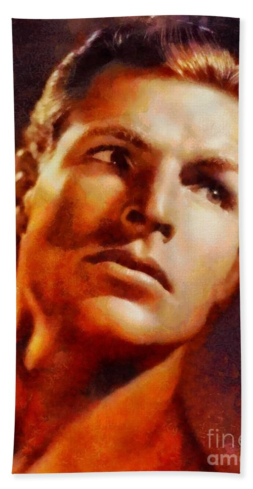 Hollywood Hand Towel featuring the painting Buster Crabbe, Vintage Hollywood Legend by Sarah Kirk