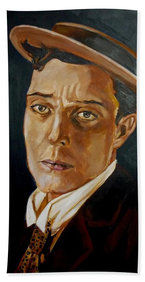 Comedy Bath Towel featuring the painting Buster Keaton Tribute by Bryan Bustard