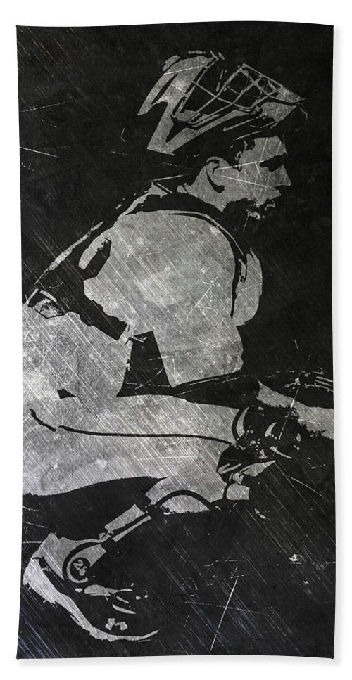 Buster Posey Bath Towel featuring the painting Buster Posey San Francisco Giants Art by Joe Hamilton