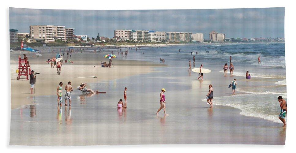 Beach Hand Towel featuring the photograph Busy Beach Day by Deborah Benoit