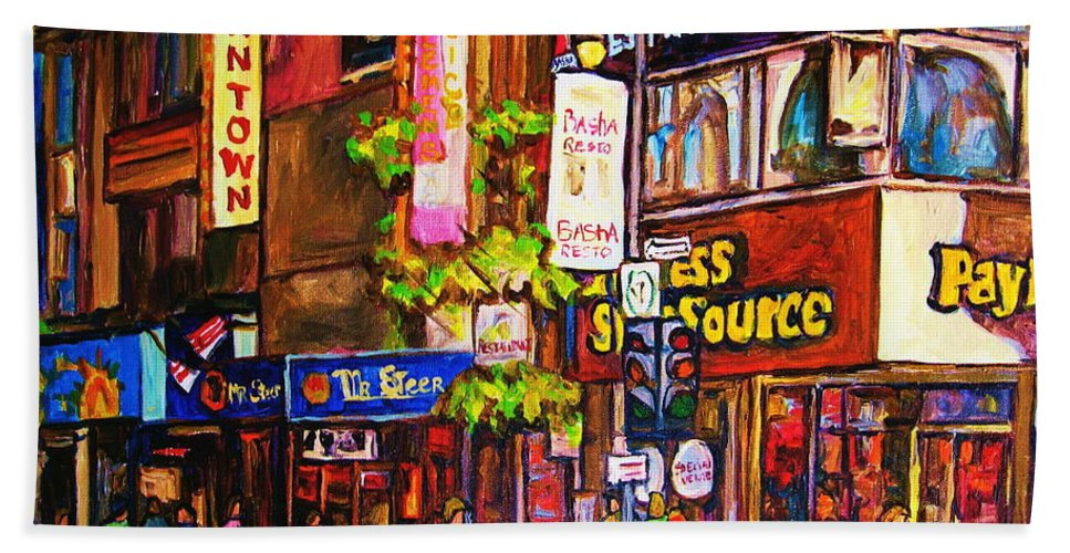 Cityscape Bath Towel featuring the painting Busy Downtown Street by Carole Spandau