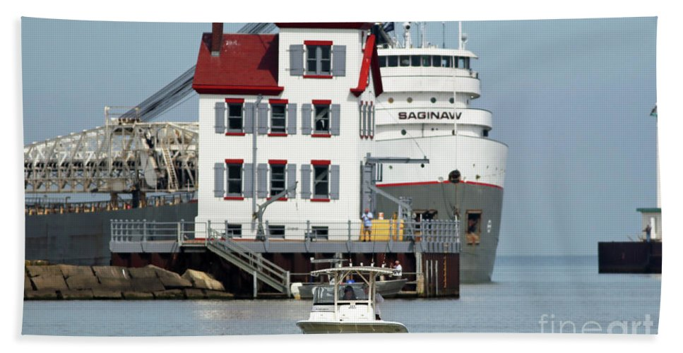 Lighthouse Bath Sheet featuring the photograph Busy Harbor Of Lorain by Debbie Parker