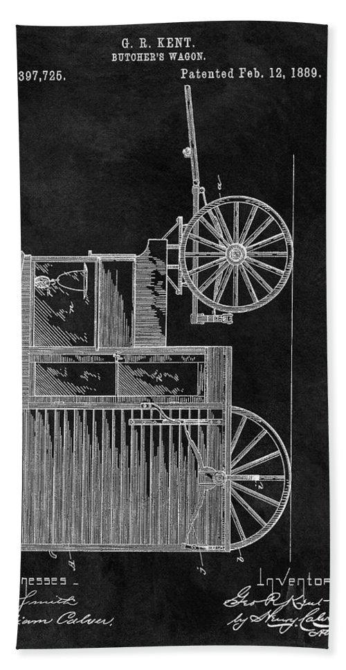 1889 Butcher's Wagon Patent Bath Sheet featuring the drawing Butcher's Wagon Patent by Dan Sproul