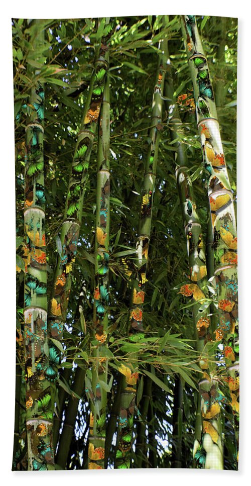 Botanical Bath Sheet featuring the photograph Butterflies And Bamboo by Jimmy Chuck Smith