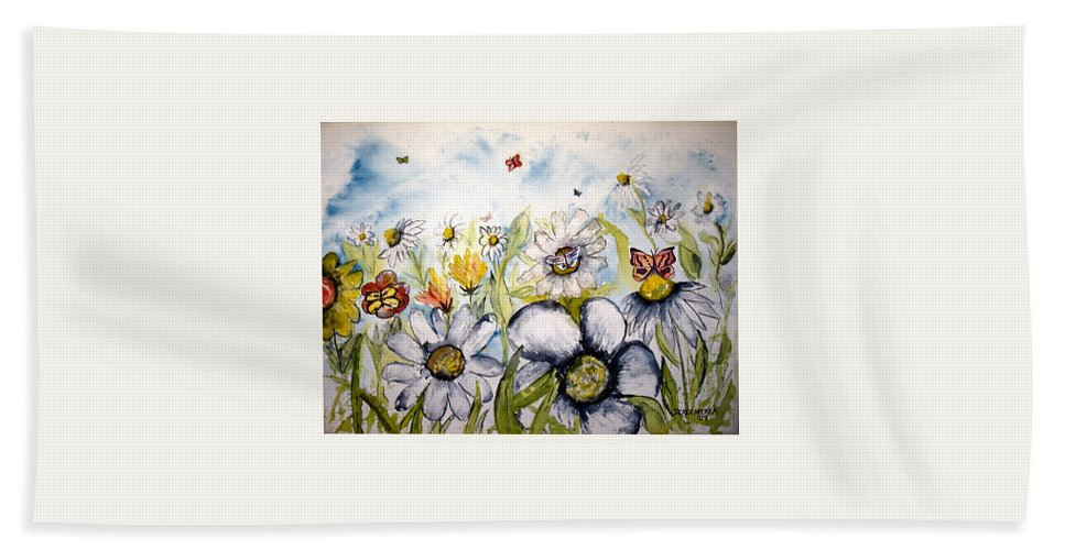 Butterfly Hand Towel featuring the painting Butterflies and Flowers by Derek Mccrea