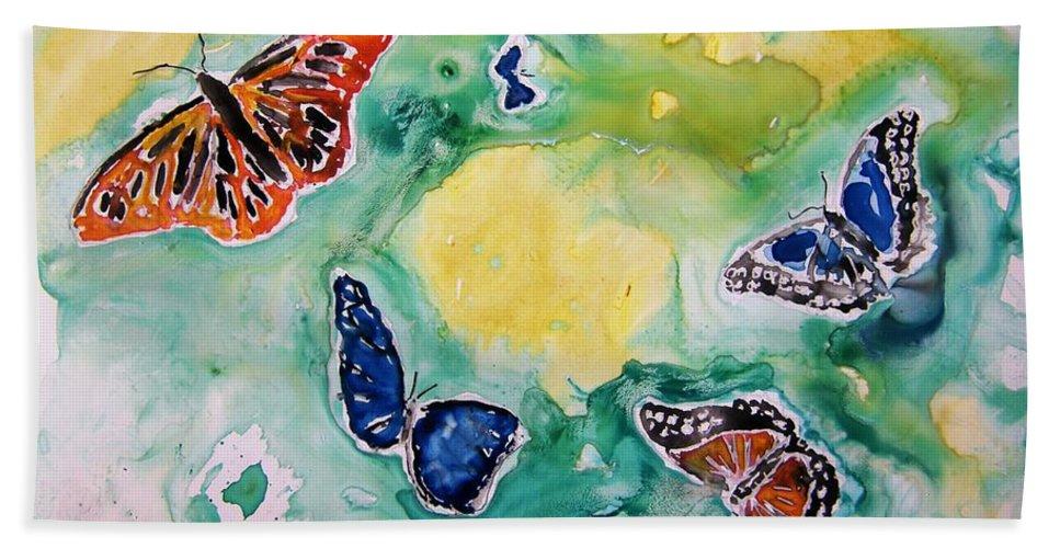 Watercolour Hand Towel featuring the painting Butterflies by Derek Mccrea