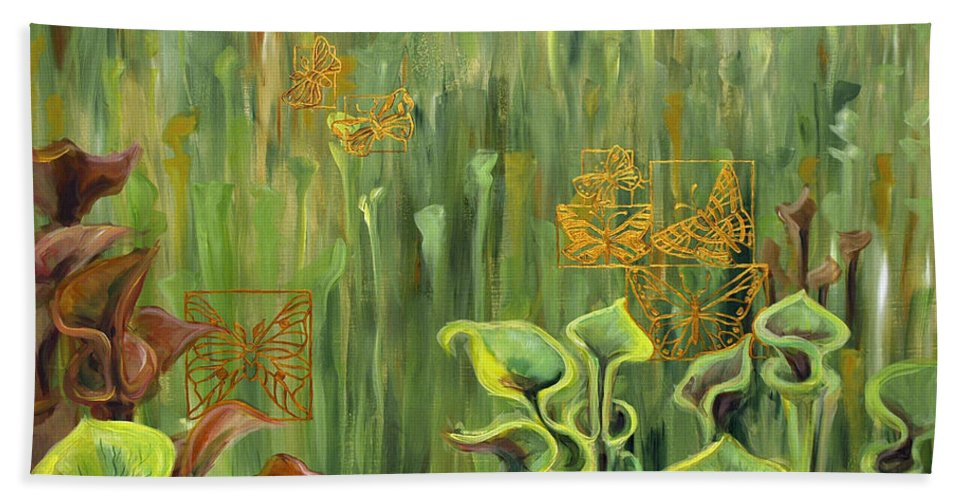 Acrylic Hand Towel featuring the painting Butterflies In The Bog by Suzanne McKee