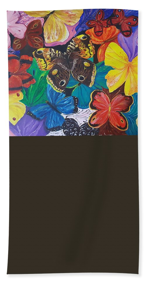 Butterfly Bath Towel featuring the painting Butterflies 2 by Rita Fetisov