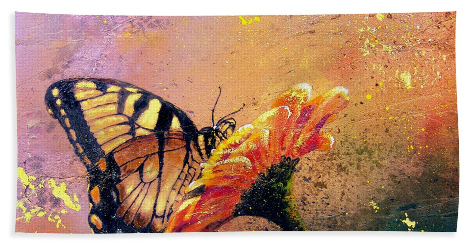 Nature Bath Sheet featuring the painting Butterfly by Andrew King