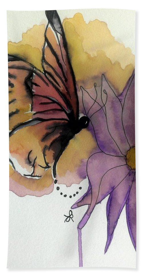 Butterfly Hand Towel featuring the painting Butterfly Collecting by LKB Art and Photography