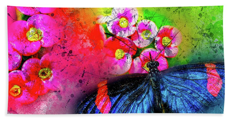 Abstract Hand Towel featuring the photograph Butterfly Color Explosion by Kay Brewer