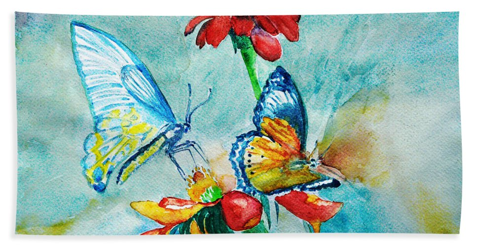 Spring Bath Sheet featuring the painting Butterfly Dance by Jasna Dragun