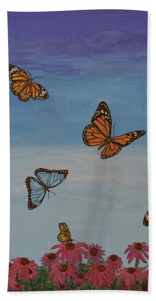 Butterfly Bath Sheet featuring the painting Butterfly Field by Aicy Karbstein