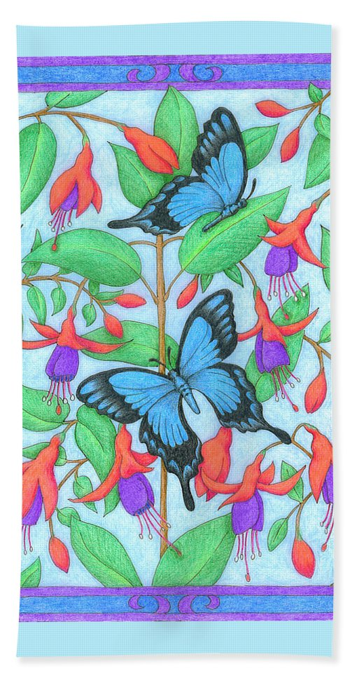 Flower Hand Towel featuring the drawing Butterfly Idyll-fuchsias by Alison Stein