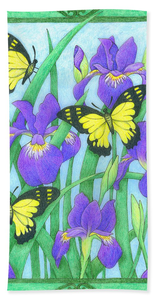 Nature Hand Towel featuring the drawing Butterfly Idyll-irises by Alison Stein