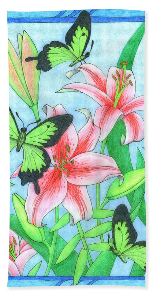 Flower Hand Towel featuring the drawing Butterfly Idyll- Lilies by Alison Stein