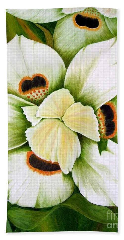 Iris Hand Towel featuring the painting African Butterfly Iris by Mary Deal