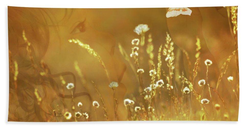 Fleurogeny Art Hand Towel featuring the digital art Butterfly Kiss by Torie Tiffany