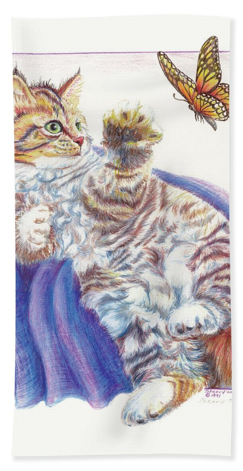 Cat Bath Sheet featuring the drawing Butterfly Kitten by Sherry Shipley