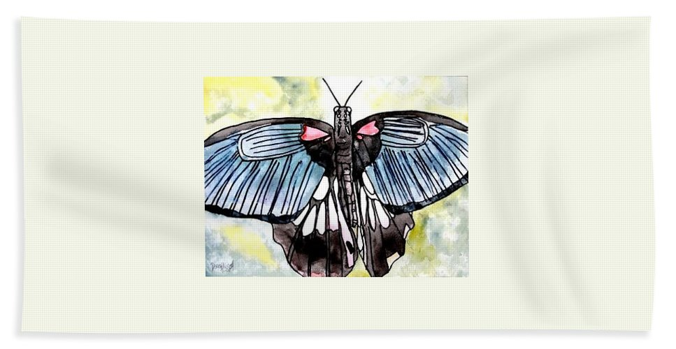 Watercolor Hand Towel featuring the painting Butterfly Macro by Derek Mccrea