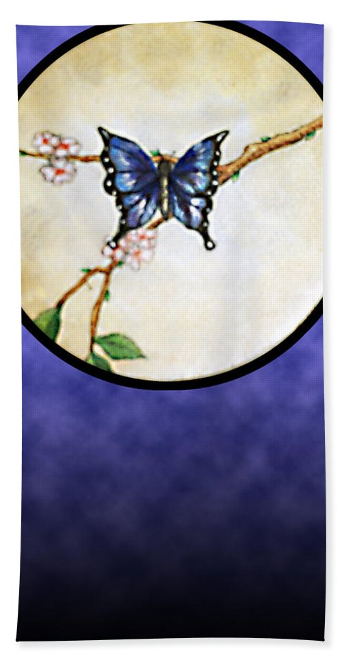 Butterfly Hand Towel featuring the painting Butterfly Moon by Janice T Keller-Kimball