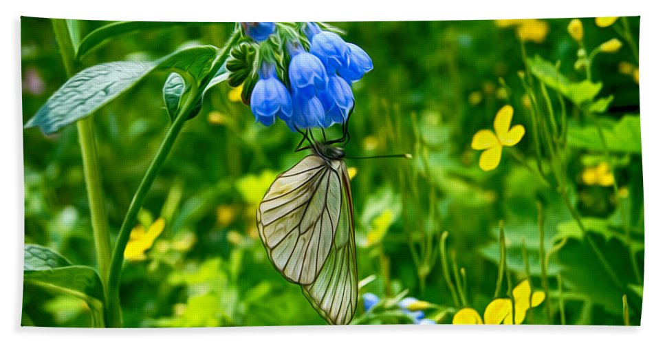 Butterfly Bath Sheet featuring the digital art Butterfly On A Flower by Tatiana Tyumeneva