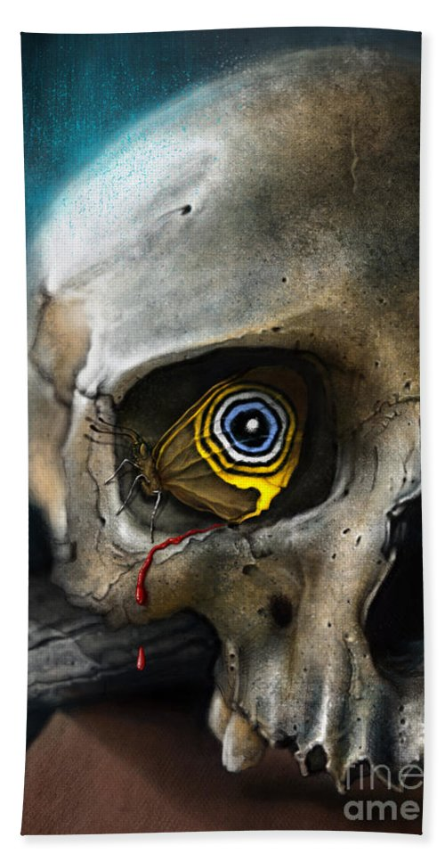 Skull Hand Towel featuring the digital art Butterfly Skull by Andre Koekemoer
