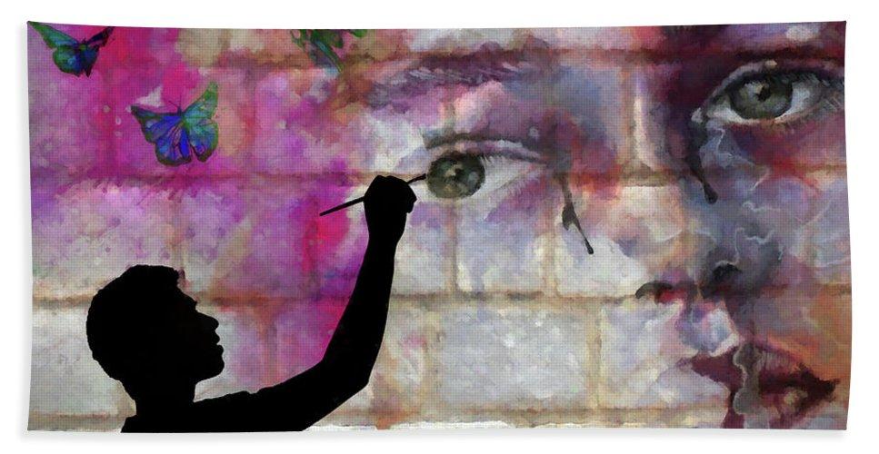 Artist Bath Sheet featuring the digital art Butterfly Song by Ronald Bolokofsky