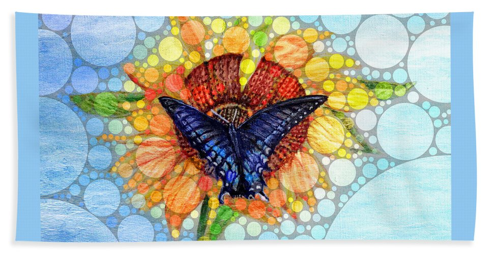 Black And Blue Monarch Butterfly Flying Flowers Sunflower Blue Skies Background Nature Scene Spiritual Work Inspirational Work Sunflower Works Butterfly Works Acrylic Painting With Digital Enhancement Bath Sheet featuring the mixed media Butterfly Sunday After The Rain by Kimberlee Baxter