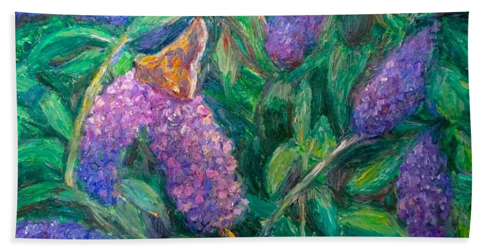 Butterfly Hand Towel featuring the painting Butterfly View by Kendall Kessler
