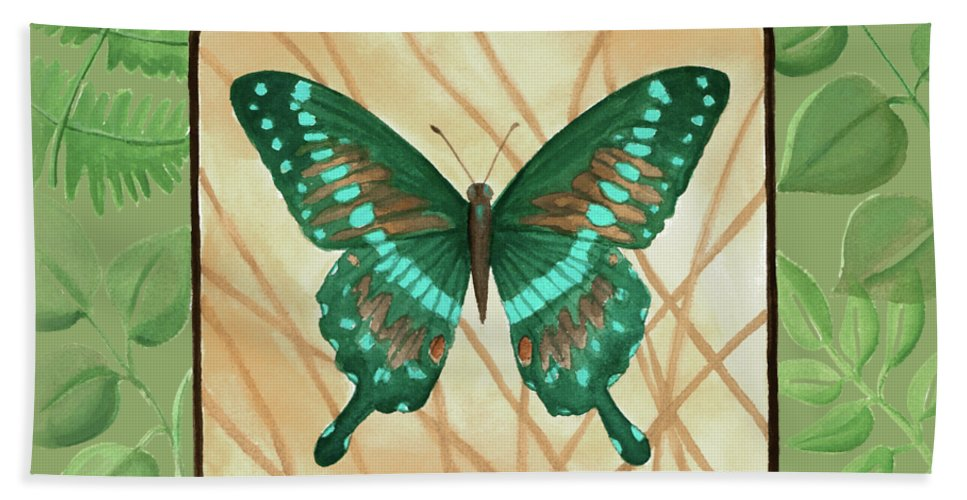 Butterfly Hand Towel featuring the painting Butterfly With Leaves 2 by Chantal Candon