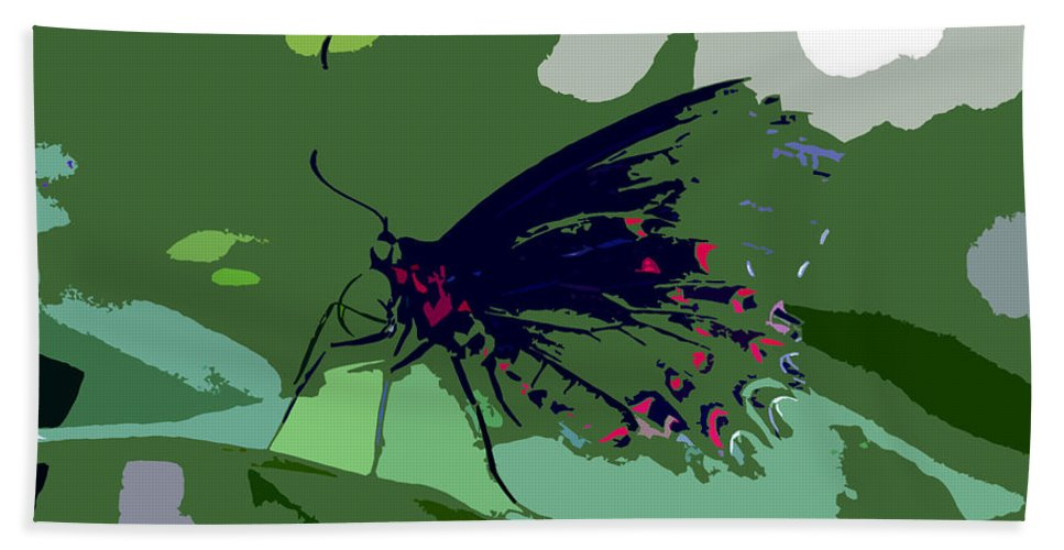 Butterfly Hand Towel featuring the photograph Butterfly Work Number Ten by David Lee Thompson