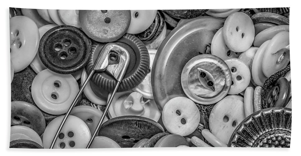Buttons Bath Sheet featuring the photograph Buttons In Black And White by Ray Congrove