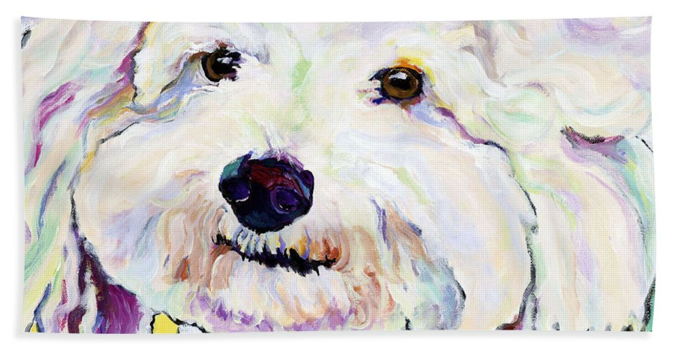 Bischon Bath Towel featuring the painting Buttons  by Pat Saunders-White