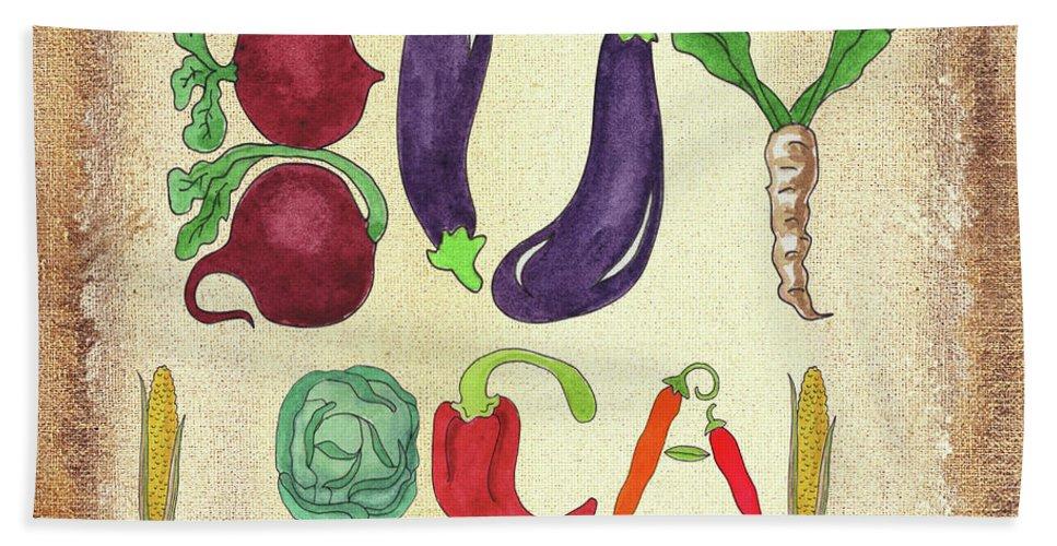 Buy Local Bath Towel featuring the painting Buy Local Farmers Market by Irina Sztukowski
