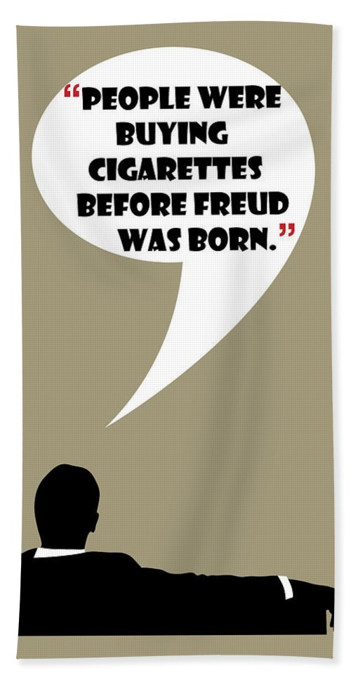 Don Draper Hand Towel featuring the painting Buying Cigarettes - Mad Men Poster Don Draper Quote by Beautify My Walls