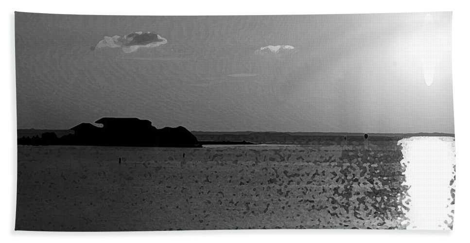 Pelican Bath Towel featuring the photograph Bw Sunset House by Michael Thomas