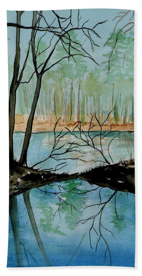 Watercolor Hand Towel featuring the painting By River's Edge by Brenda Owen