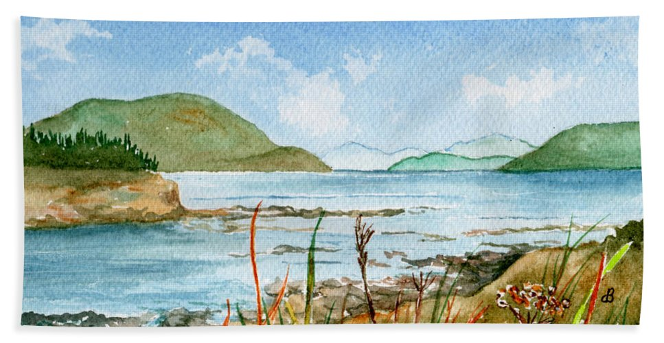 Landscape Hand Towel featuring the painting By The Bay by Brenda Owen