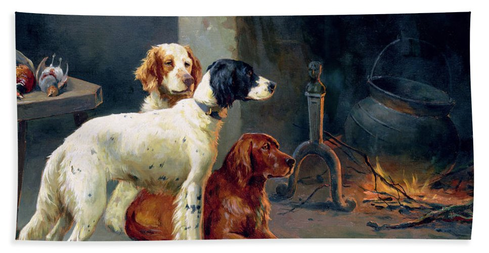 Dogs; Pheasants; Gundogs; Hearth; Cooking Pot; Irons; Irish Red Setter; English Setter; Working Dog Bath Sheet featuring the painting By The Fire by Alfred Duke
