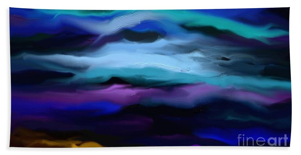 Digital Bath Sheet featuring the painting By The Sea by Rushan Ruzaick