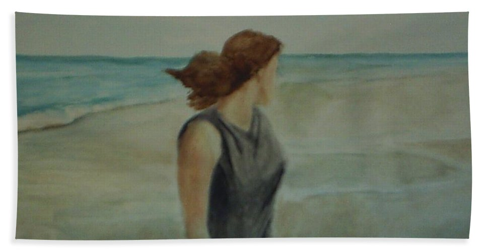 Ocean Hand Towel featuring the painting By The Sea by Sheila Mashaw