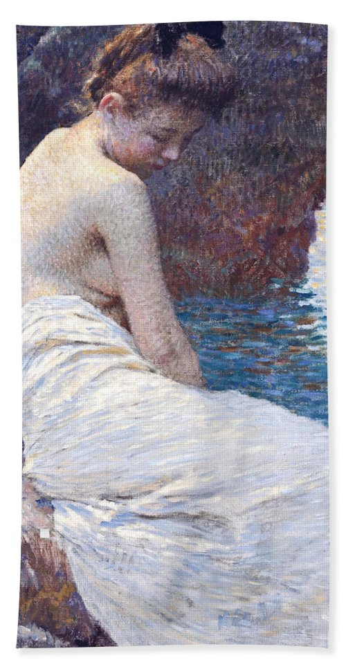 Vlaho Bukovac Bath Towel featuring the painting By the Sea by Vlaho Bukovac