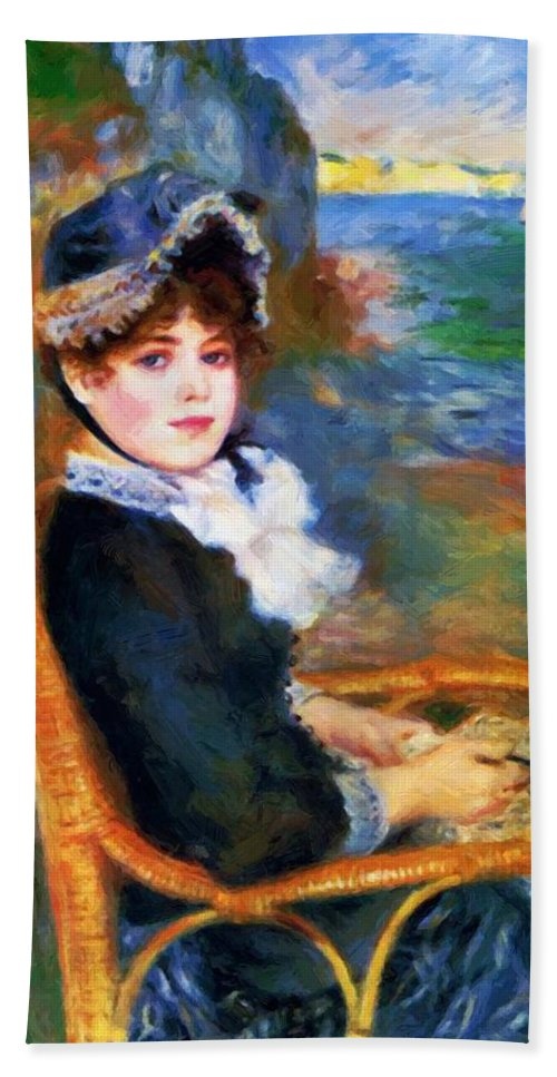 By Hand Towel featuring the painting By The Seashore 1883 by Renoir PierreAuguste
