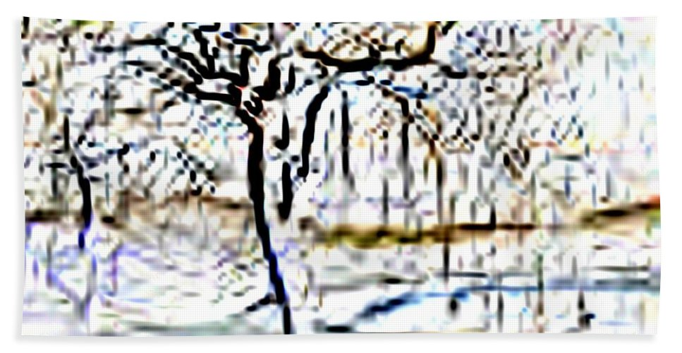 Tree Hand Towel featuring the photograph By Waters Edge by Tim Allen