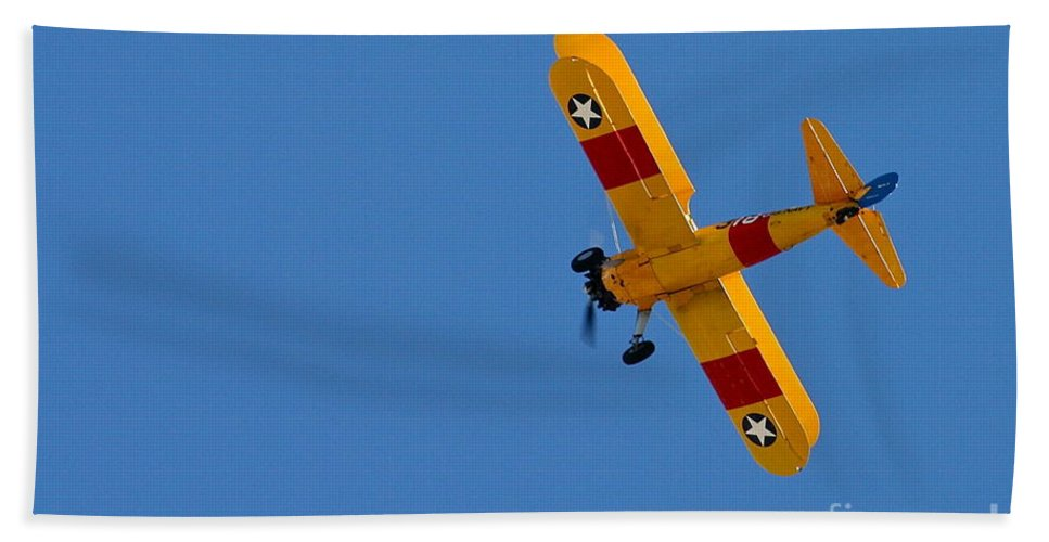 Aircraft Bath Towel featuring the photograph Bye Bye Biplane by Rick Monyahan