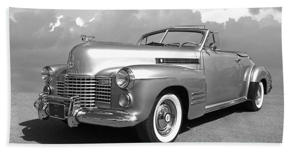 Cadillac Hand Towel featuring the photograph Bygone Era - 1941 Cadillac Convertible In Black And White by Gill Billington
