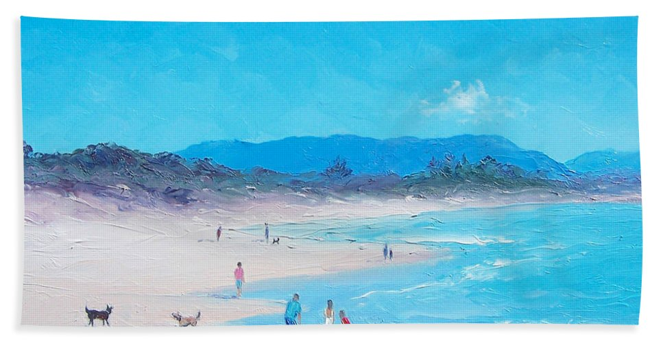 Byron Bay Hand Towel featuring the painting Byron Bay Beach Morning by Jan Matson