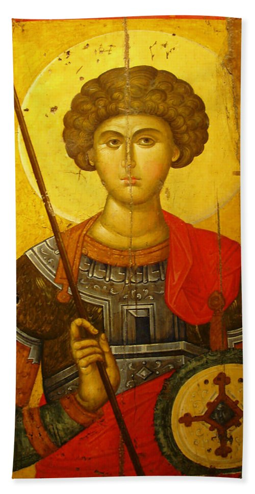 Byzantine Knight Hand Towel featuring the photograph Byzantine Knight by Ellen Henneke