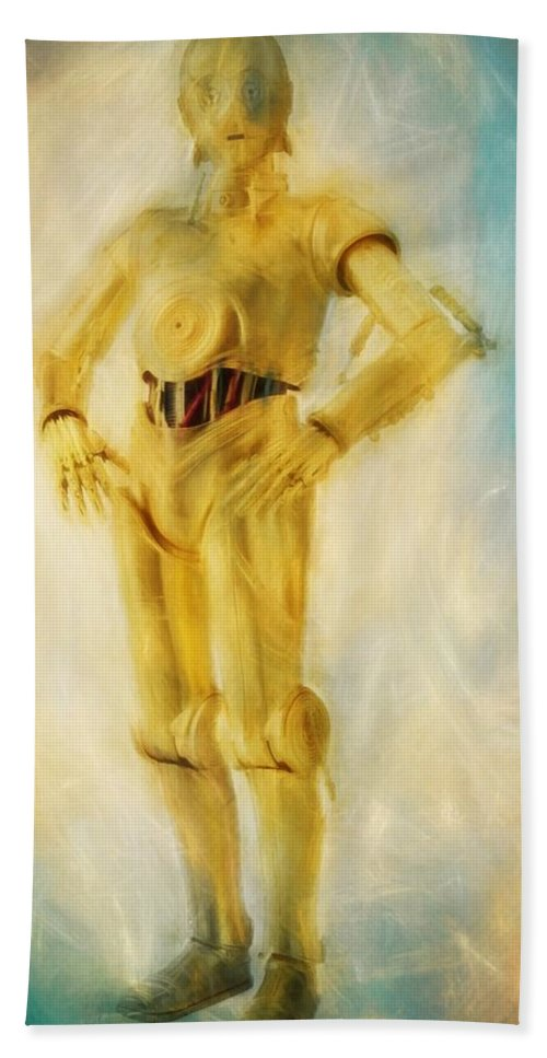 C3po Bath Sheet featuring the painting C-3po by Dan Sproul
